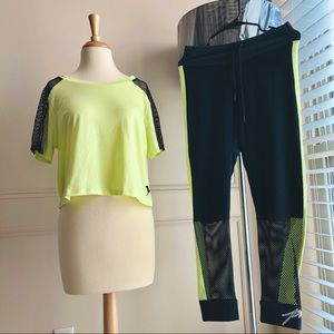 VS PINK Tee & Legging SET size Large Lime Green